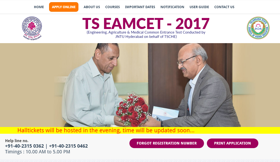 TS EAMCET 2017 Admit Card